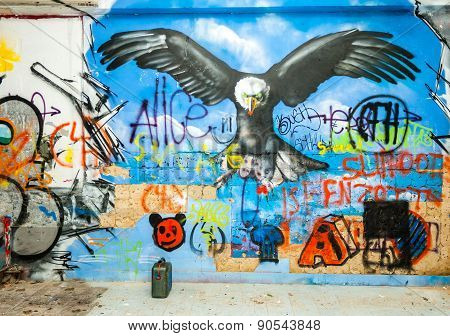 Eagle Graffiti In An Abandoned Factory Building