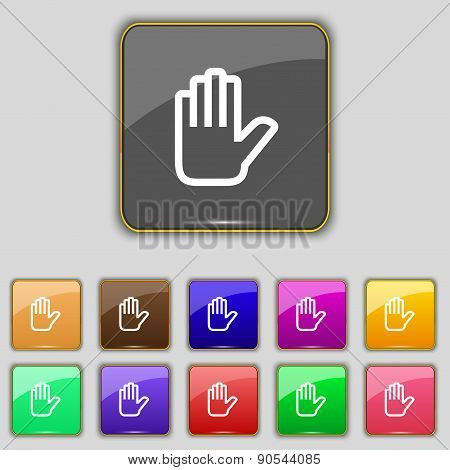 Hand Print, Stop Icon Sign. Set With Eleven Colored Buttons For Your Site. Vector