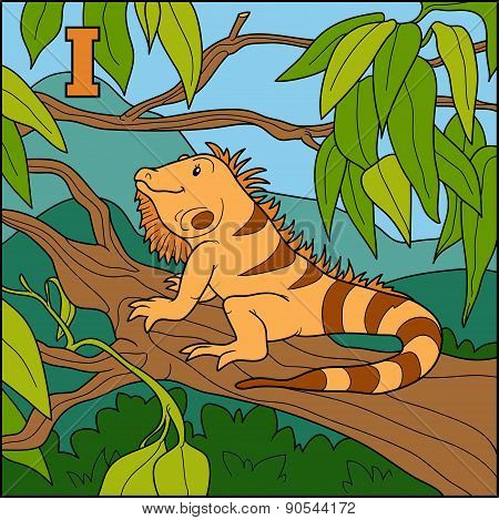 Color Alphabet For Children: Letter I (iguana)