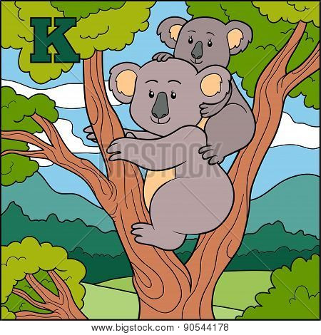 Color Alphabet For Children: Letter K (koala)