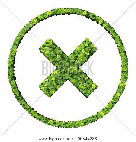 Media control x, error, exit icon, made from green leaves.