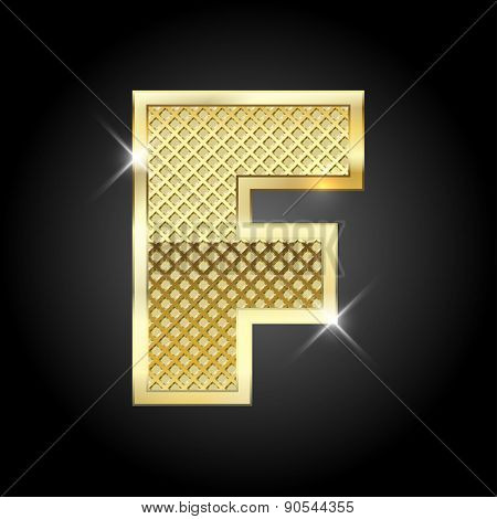 Vector metal gold letter F