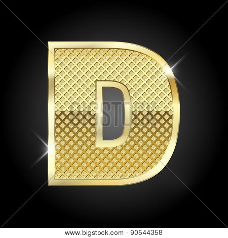 Vector metal gold letter D