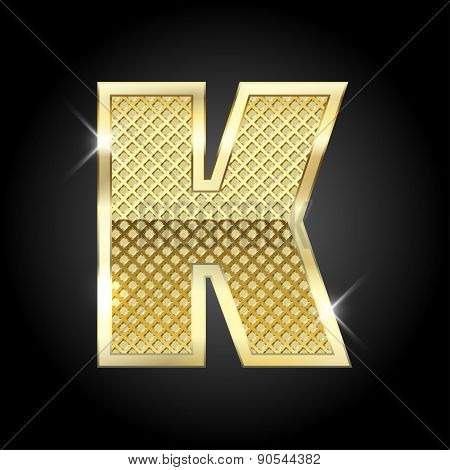 Vector metal gold letter K