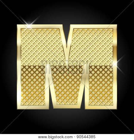 Vector metal gold letter M.