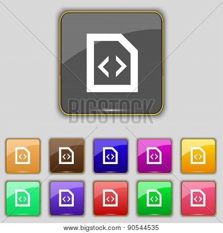 Programming Code Icon Sign. Set With Eleven Colored Buttons For Your Site. Vector