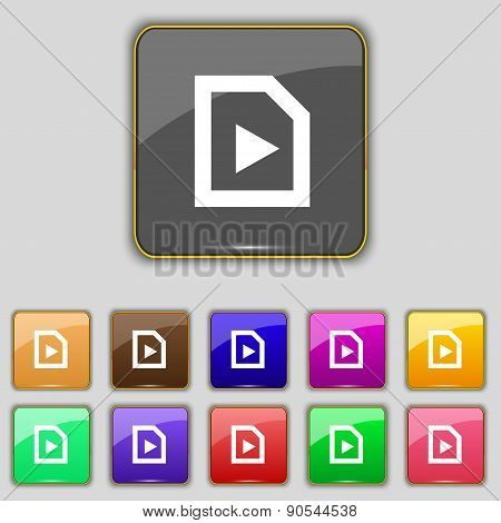 Play Icon Sign. Set With Eleven Colored Buttons For Your Site. Vector