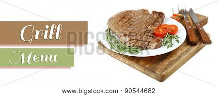 Delicious grilled meat on plate isolated on white and space for text