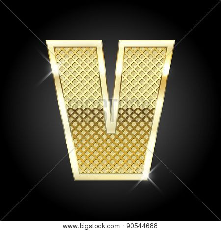 Vector metal gold letter V