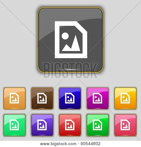 File Jpg Icon Sign. Set With Eleven Colored Buttons For Your Site. Vector