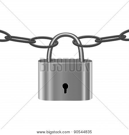 Chain Under Lock Isolated On White. Under Guard, Closed Symbol