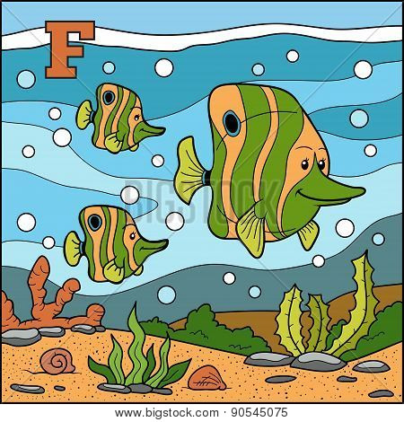 Color Alphabet For Children: Letter F (fish)