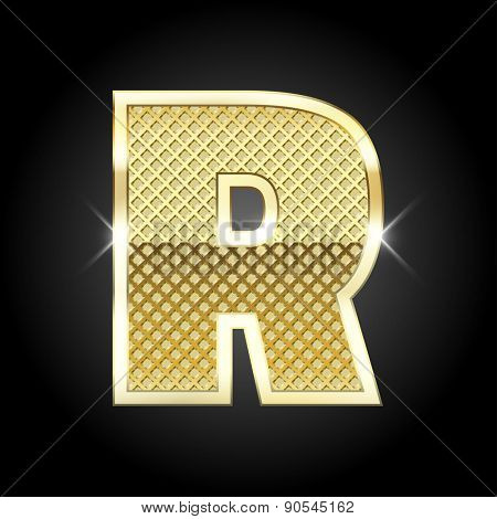 Vector metal gold letter R