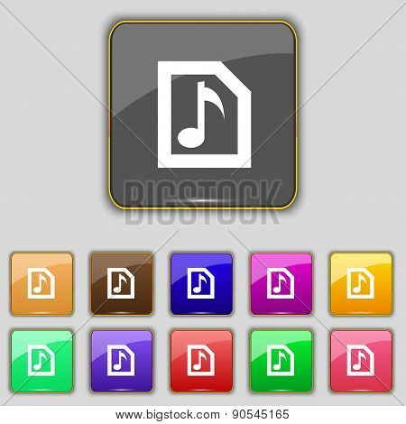 Audio, Mp3 File Icon Sign. Set With Eleven Colored Buttons For Your Site. Vector