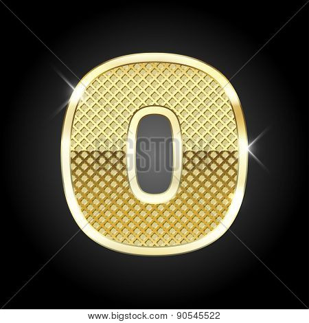 Vector metal gold letter O
