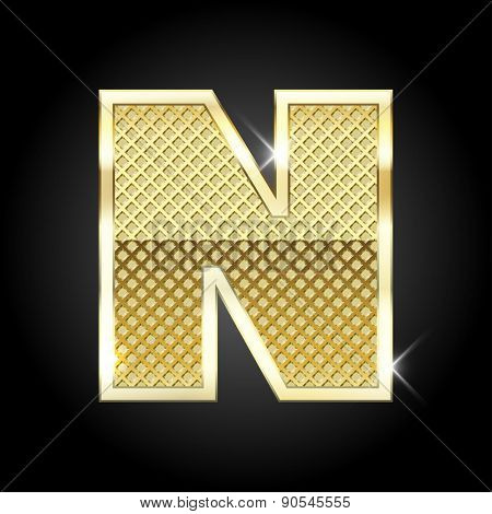 Vector metal gold letter N