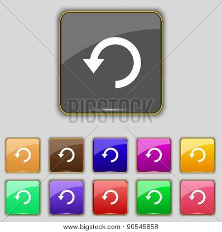 Upgrade, Arrow, Update Icon Sign. Set With Eleven Colored Buttons For Your Site. Vector
