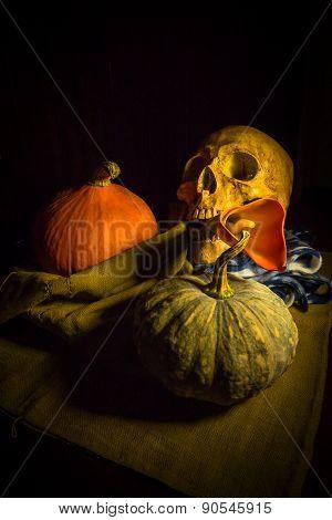 Skull And Pumpkin