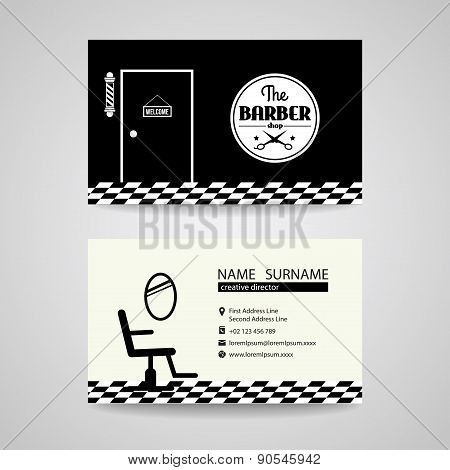 barber shop back and white retro business card vector design