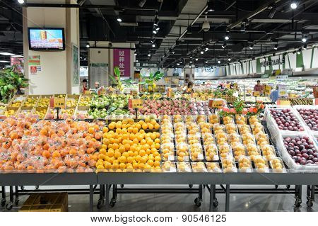 SHENZHEN, CHINA - MAY 06, 2015: AEON supermarket interior in ShenZhen. ShenZhen is regarded as one of the most successful Special Economic Zones.