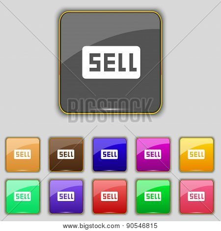 Sell, Contributor Earnings Icon Sign. Set With Eleven Colored Buttons For Your Site. Vector