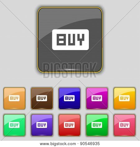 Buy, Online Buying Dollar Usd  Icon Sign. Set With Eleven Colored Buttons For Your Site. Vector