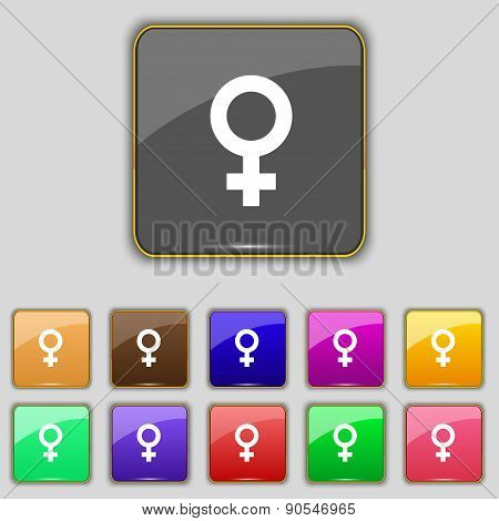 Symbols Gender, Female, Woman Sex Icon Sign. Set With Eleven Colored Buttons For Your Site. Vector