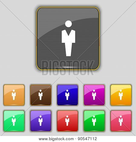 Human, Man Person, Male Toilet Icon Sign. Set With Eleven Colored Buttons For Your Site. Vector