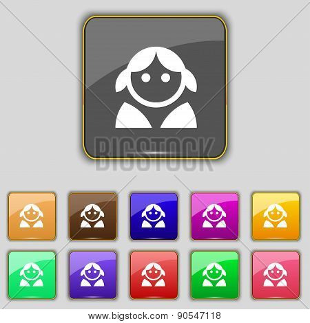 Female, Woman Human, Women Toilet, User, Login Icon Sign. Set With Eleven Colored Buttons For Your S
