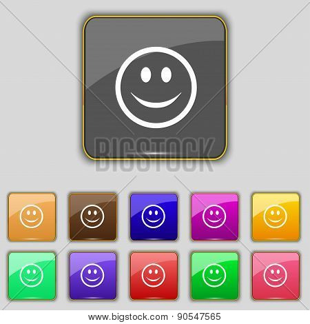 Smile, Happy Face Icon Sign. Set With Eleven Colored Buttons For Your Site. Vector