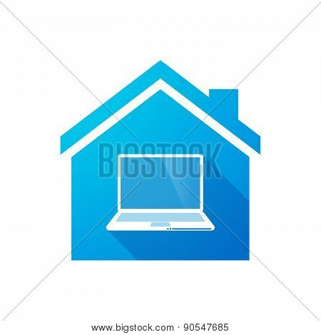 Blue House Icon With A Lap Top