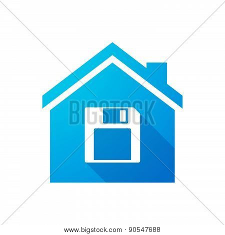 Blue House Icon With A Floppy