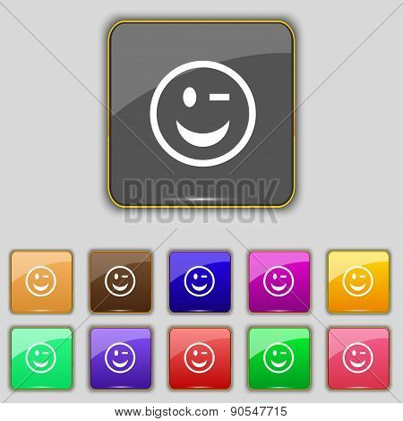 Winking Face Icon Sign. Set With Eleven Colored Buttons For Your Site. Vector