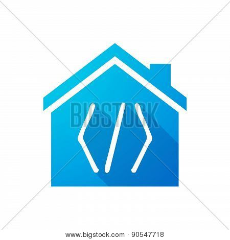 Blue House Icon With A Code Sign