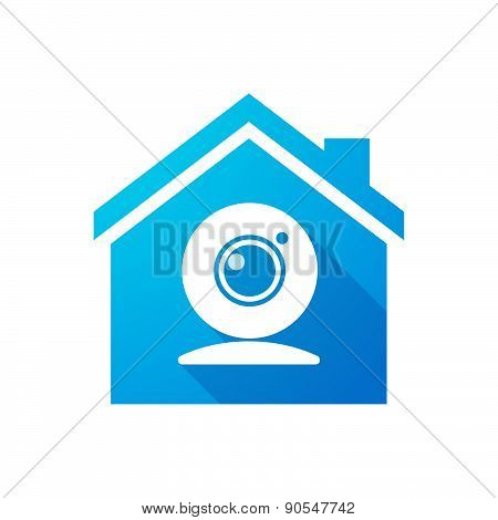 Blue House Icon With A Web Cam
