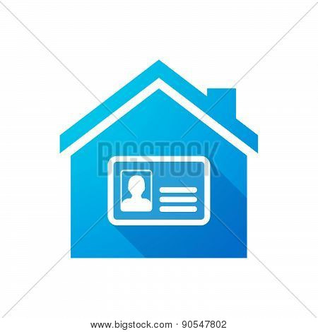 Blue House Icon With An Id Card
