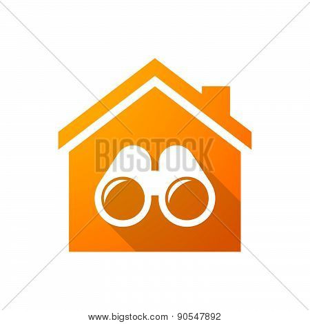 Orange House Icon With A Binoculars