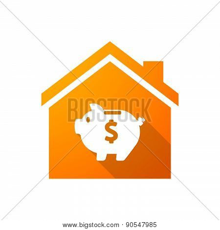 Orange House Icon With A Piggy Bank