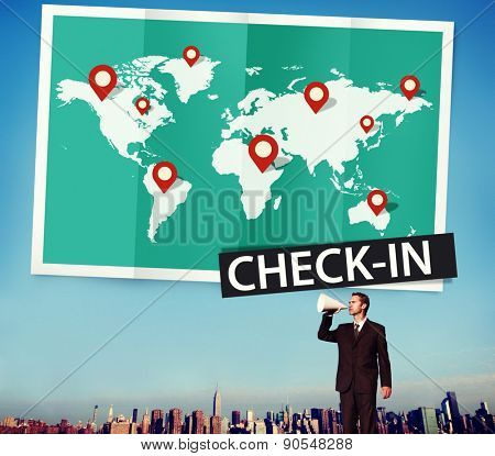 Check In Cartography Location Spot Travel World Global Concept