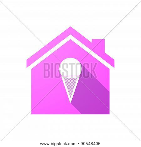 Pink House Icon With A Lesbian Sign