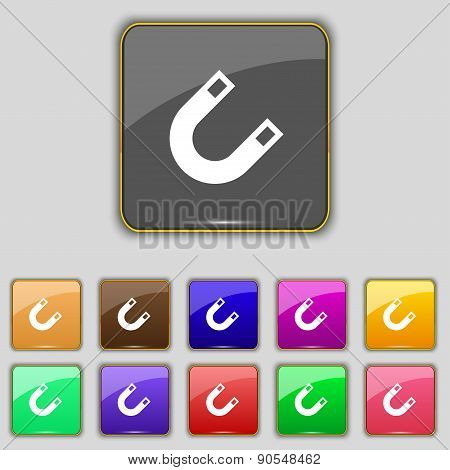 Magnet, Horseshoe Icon Sign. Set With Eleven Colored Buttons For Your Site. Vector
