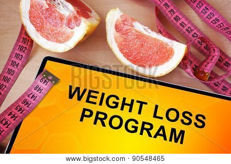 Tablet with weight loss program.