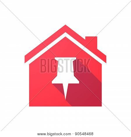 Red House Icon With A Push Pin