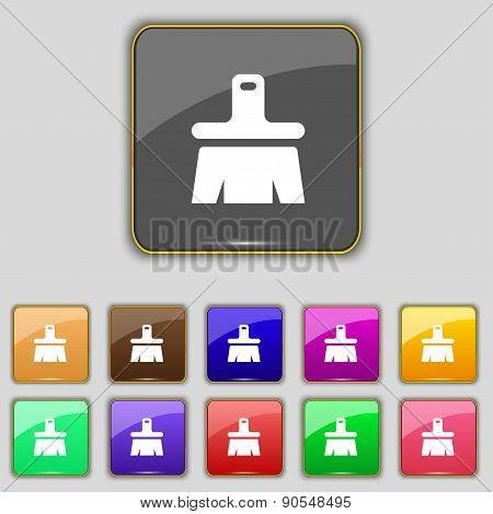 Paint Brush, Artist Icon Sign. Set With Eleven Colored Buttons For Your Site. Vector