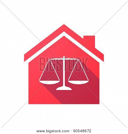 Red House Icon With A Weight Scale