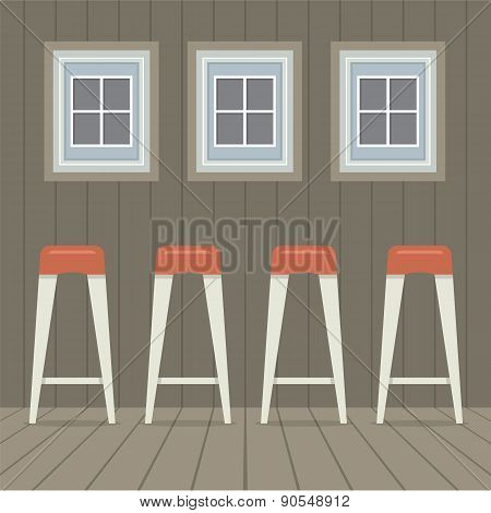 Four Stool Chairs Under Three Windows Vintage Style.