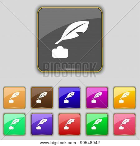 Feather, Retro Pen Icon Sign. Set With Eleven Colored Buttons For Your Site. Vector