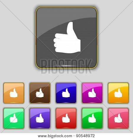 Like, Thumb Up Icon Sign. Set With Eleven Colored Buttons For Your Site. Vector