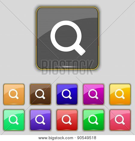 Magnifier Glass Icon Sign. Set With Eleven Colored Buttons For Your Site. Vector
