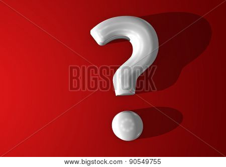 white 3d question mark shiny with red background